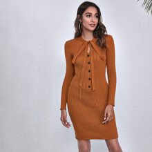 Tie Neck Button Front Ribbed Knit Sweater Dress