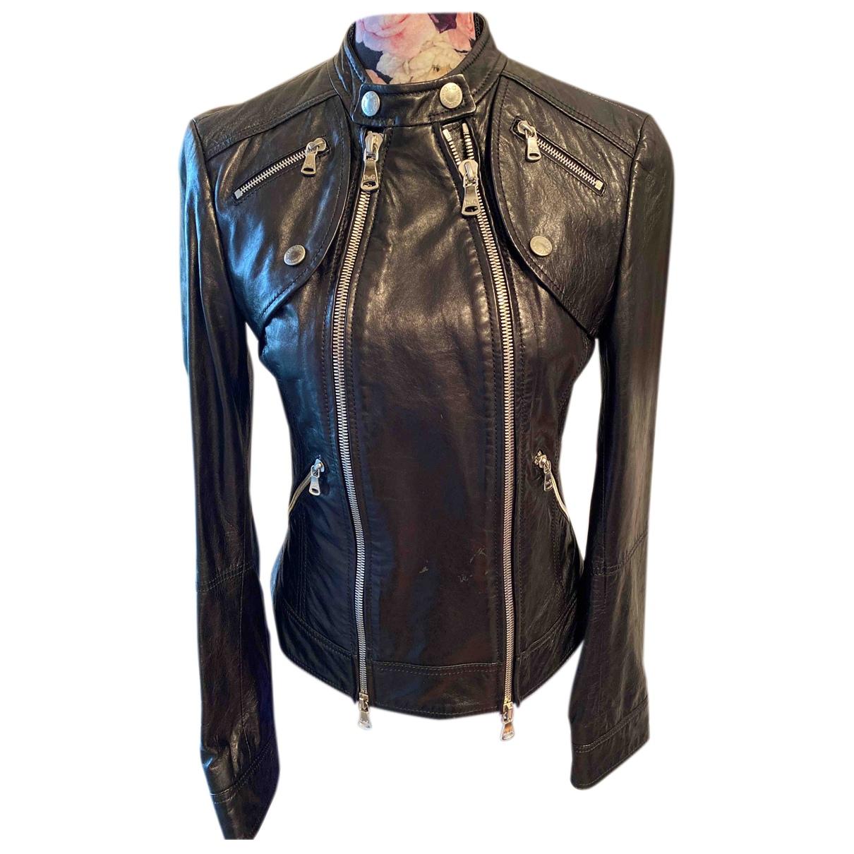 D&g - Veste   pour femme en cuir - noir