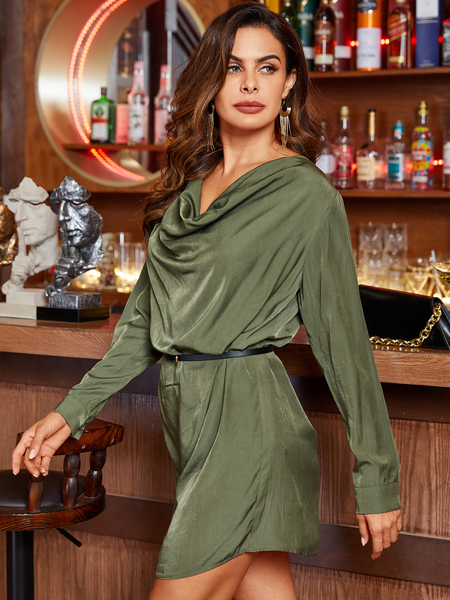 Yoins Army Green Drape Sagging Long Sleeves Dress