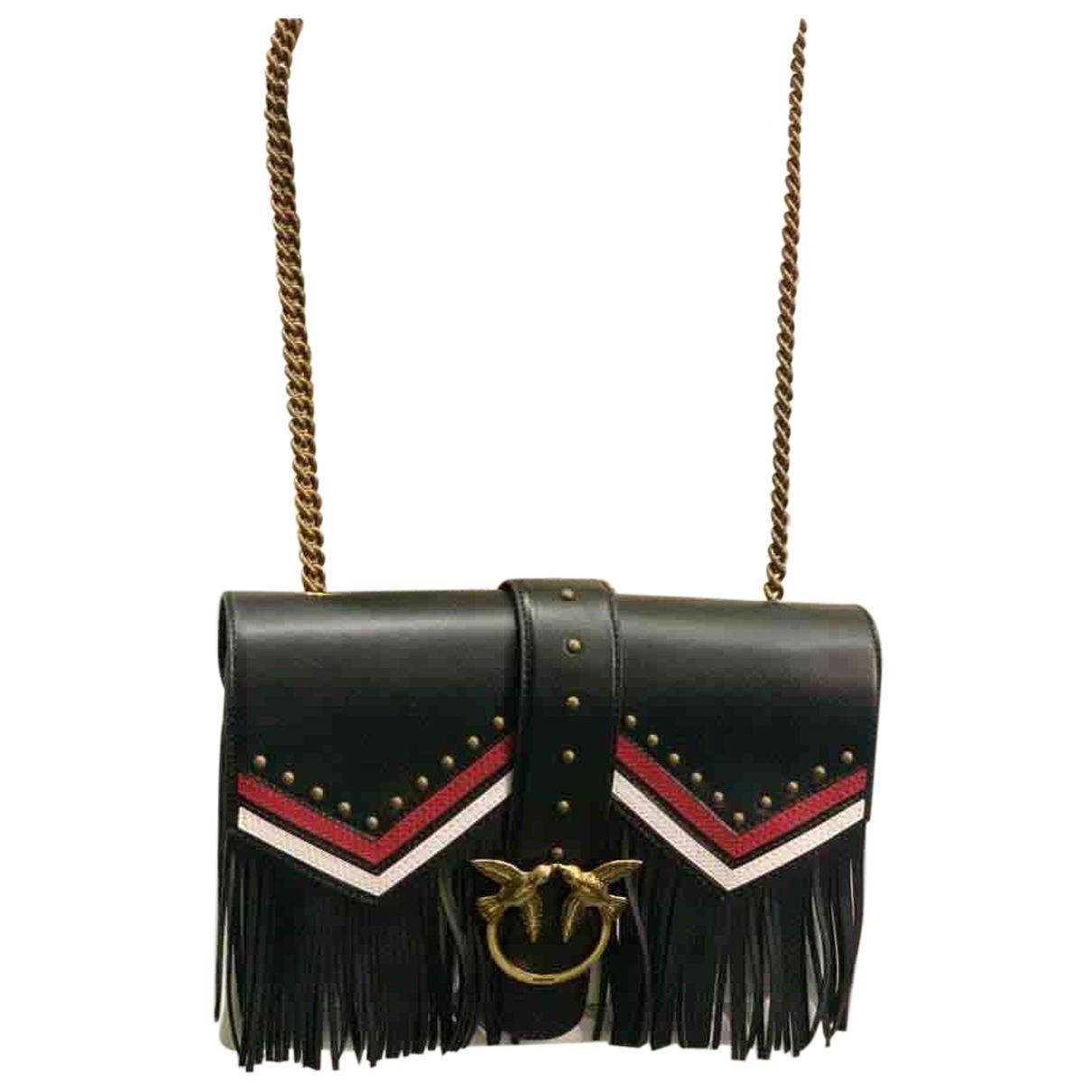 Pinko Love Bag Clutch in  Schwarz Leder