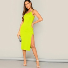 Neon Yellow One-Shoulder Bodycon Dress