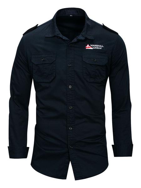 Milanoo Men\'s Casual Shirt Turndown Collar Casual Oversized Khaki Shirts