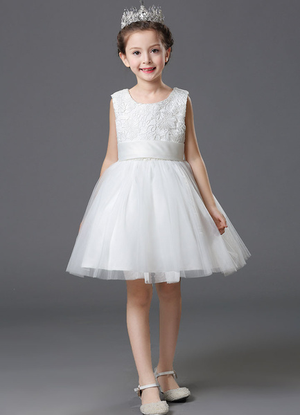 Milanoo White Flower Girl Dress Satin Sleeveless A-Line Sash Bowed Toddler's Pageant Dress