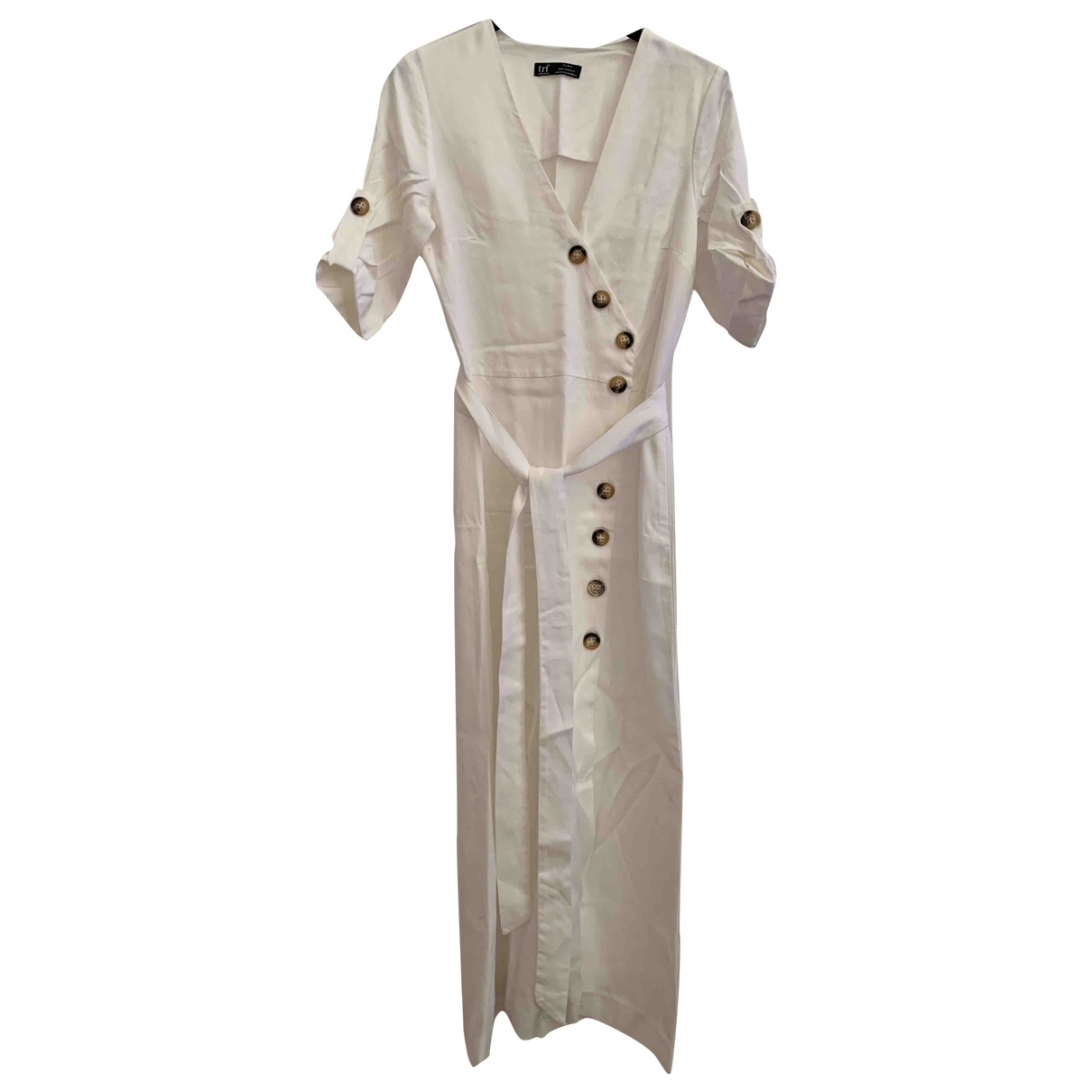 Zara \N Kleid in  Weiss Leinen