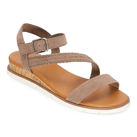a.n.a Womens University Ankle Strap Flat Sandals, 11 Medium, Brown