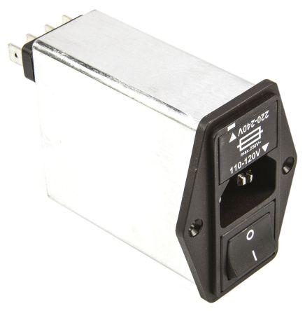 Schaffner ,6A,250 V ac Male Panel Mount IEC Filter 2 Pole FN 393 6/05-11,Faston 1 Fuse