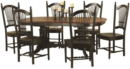 Sunset Selections Collection DLU-TCP4284-C07-AB7PC 7 Piece Double Pedestal Trestle Butterfly Leaf Dining Set with Rectangular Table + 6 Allenridge