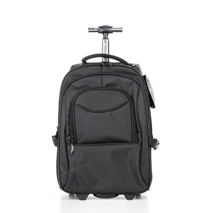 Polyester Wheeled Laptop Backpack, Black - Moustache@