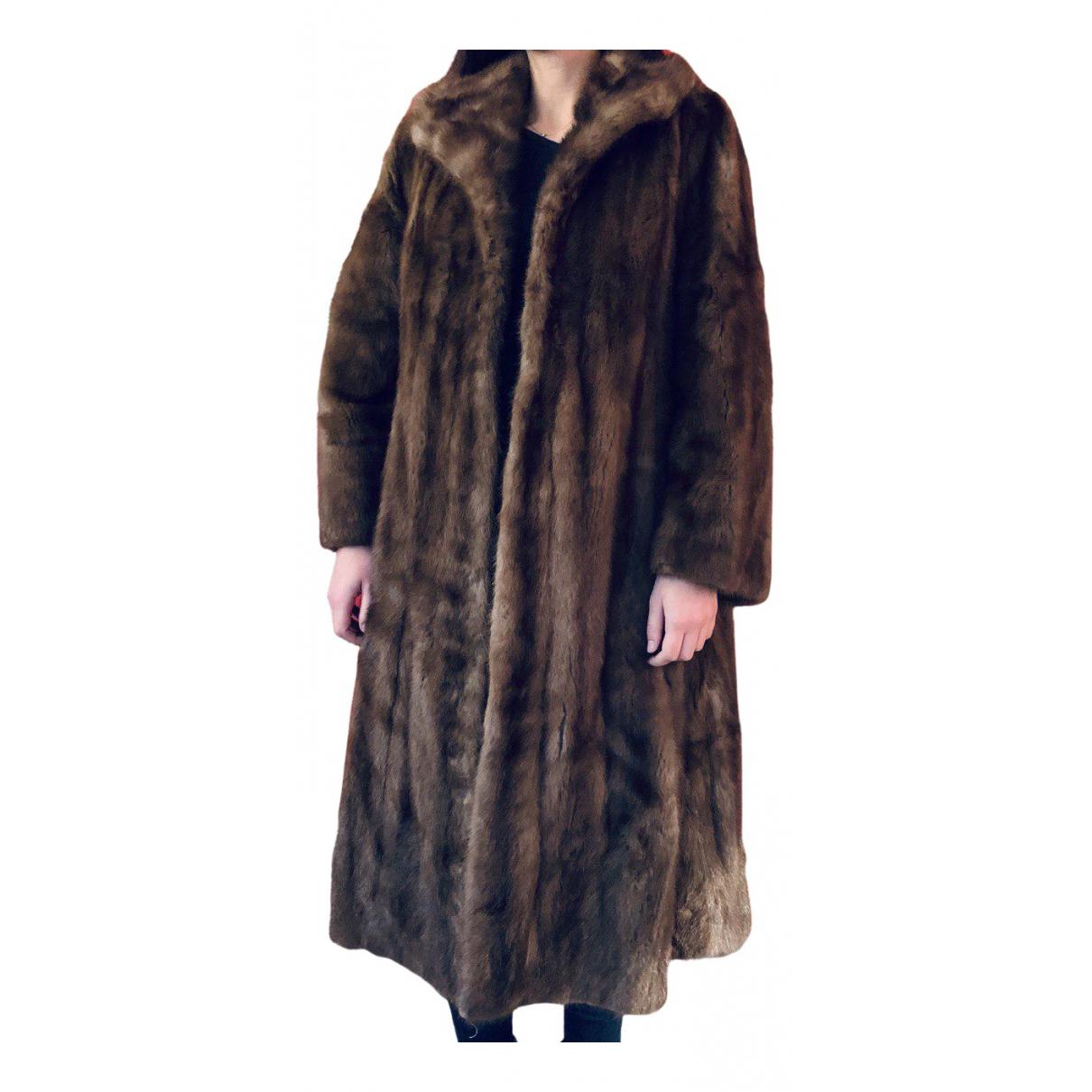 - Manteau   pour femme en astrakan - marron