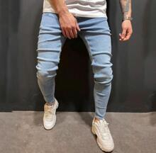 Guys Button Fly Skinny Jeans