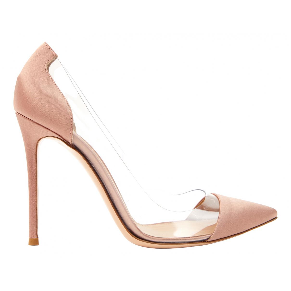 Gianvito Rossi Plexi Pink Cloth Heels for Women 41 EU