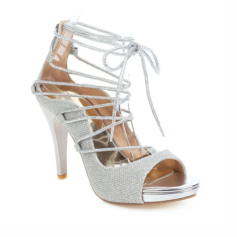 Ericdress Heel Covering Open Toe Lace-Up Cross Strap Sandals