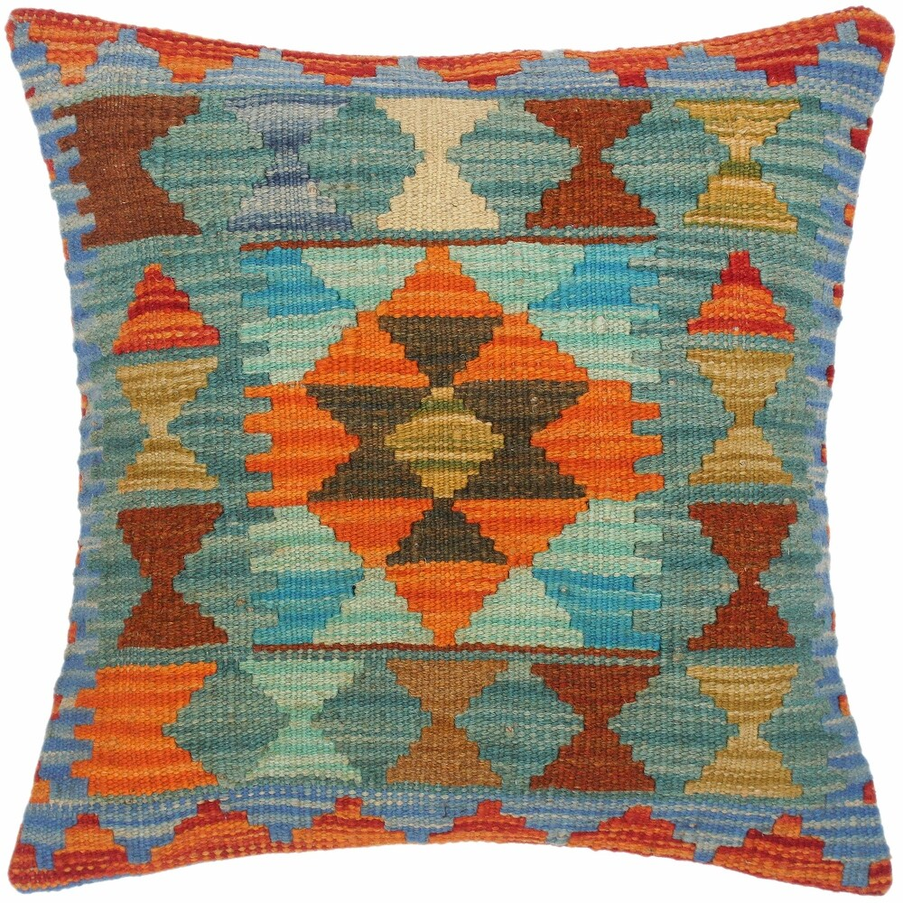 Bohemian Jonnie Hand-Woven Turkish Kilim Pillow 18 in. x 18 in. (Accent - 18 in. x 18 in. - Polyester - Blue - Single)