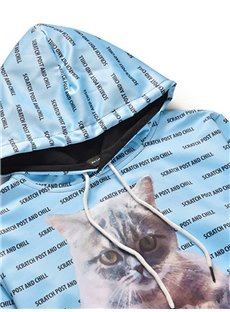 3D Digital Print Unisex Casual and Comfortable Hoodie Sweatshirts with Cute Cat Pattern