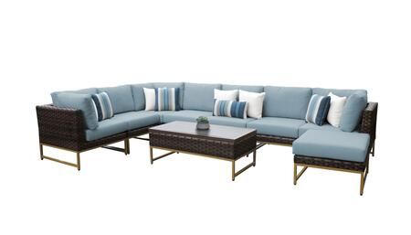 Barcelona BARCELONA-09d-GLD-SPA 9-Piece Patio Set 02a with 3 Corner Chairs  4 Armless Chairs  1 Coffee Table and 1 Ottoman - Beige and Spa Covers