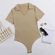 Ribbed Solid Short Sleeve Bodysuit