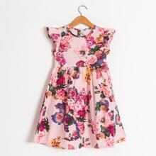 Toddler Girls Floral Print Ruffle Sleeve Dress