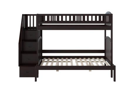 Westbrook Collection AB65701 Twin over Full Size Staircase Bunk Bed with 3 Built-In Shelves  4 Staircase Storage Drawers and Eco-Friendly Hardwood
