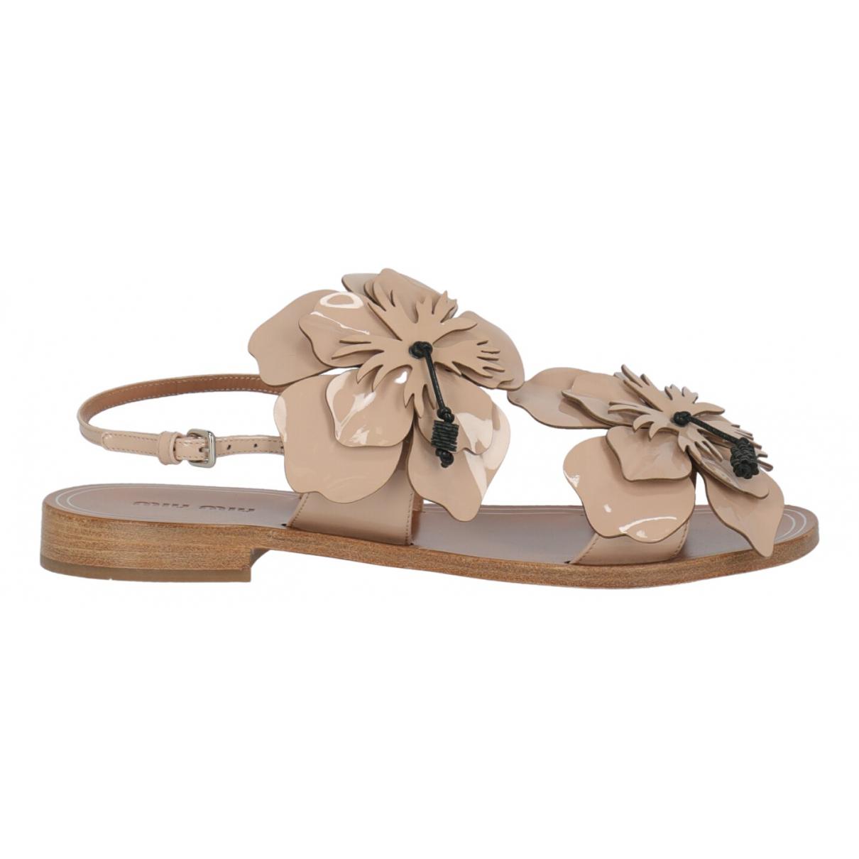 Miu Miu N Pink Patent leather Sandals for Women 37.5 IT