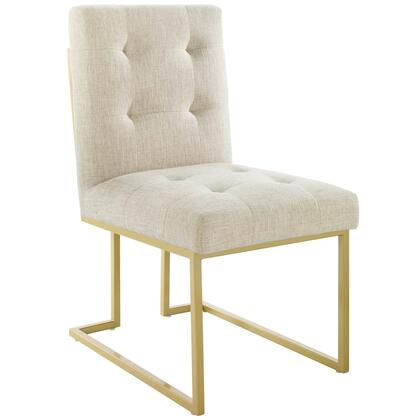 Privy Collection EEI-3743-GLD-BEI Gold Stainless Steel Upholstered Fabric Dining Accent Chair in Gold Beige