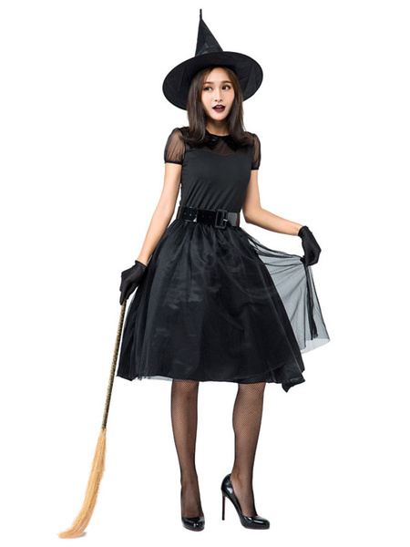 Milanoo Halloween Costumes Woman\\'s Black Witch Dress Hat Polyester Halloween Holidays Costumes