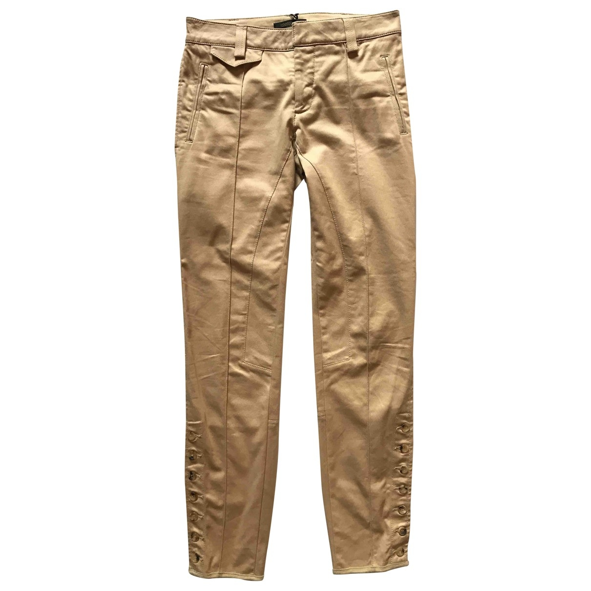 Roberto Cavalli \N Camel Cotton Trousers for Women 36 IT