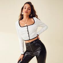 Buttoned Front Contrast Binding Rib-knit Top