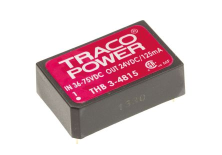 TRACOPOWER THB 3 3W Isolated DC-DC Converter Through Hole, Voltage in 36 → 75 V dc, Voltage out 24V dc Medical