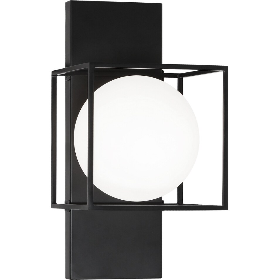 Matteo  S03811BK One Light Wall Sconce Squircle Black - One Size (One Size - Clear)