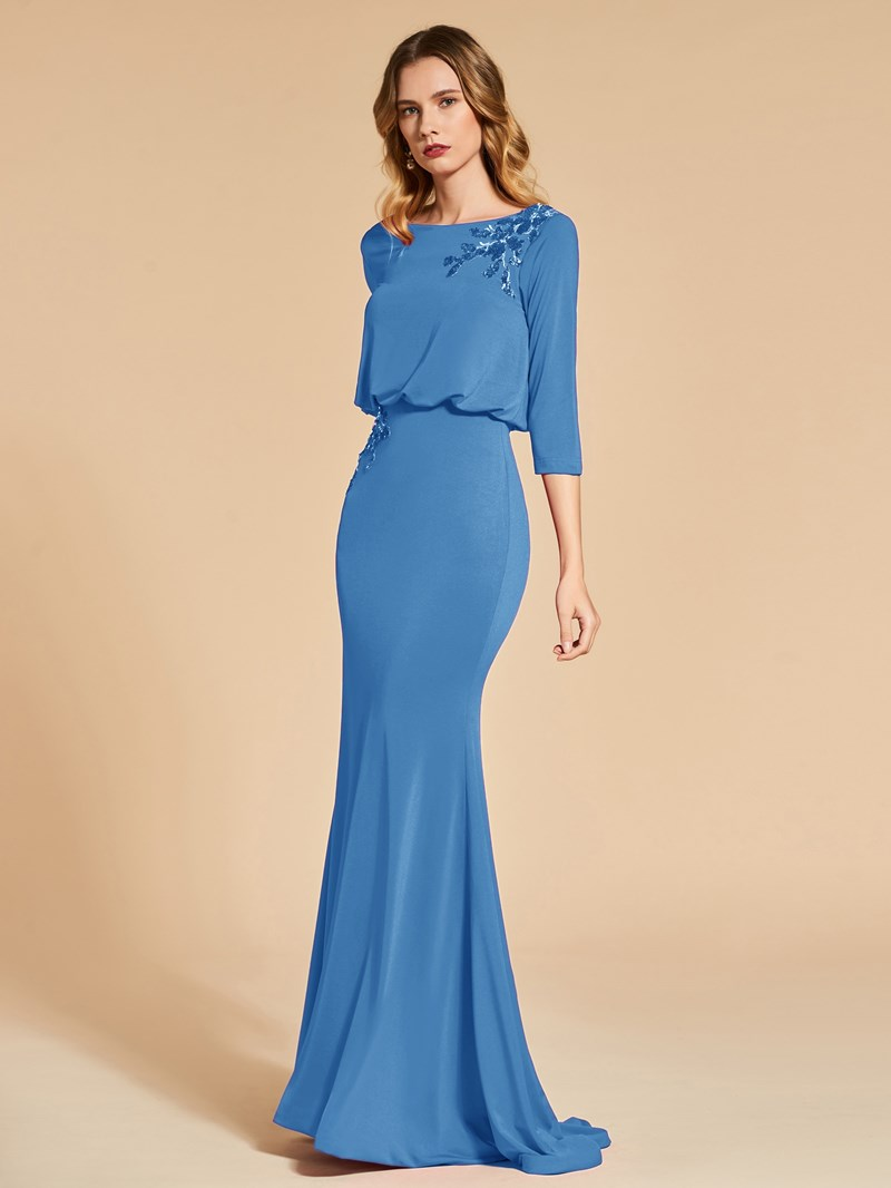 Ericdress 3/4 Sleeve Sequin Applique Mermaid Evening Dress
