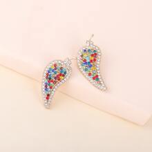 Pendientes con diamante de imitacion en forma de hoja