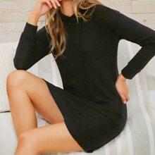 Drop Shoulder Solid Hooded Sweater Dress