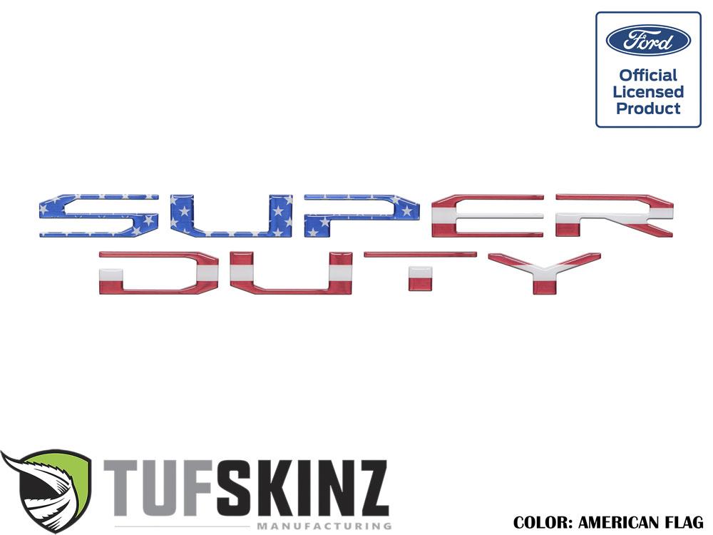 Tufskinz SUP004-GTO-RWB-G Tailgate Super Duty Inserts 10 Piece Kit Red/White/Blue Ford Super Duty 2017-2021