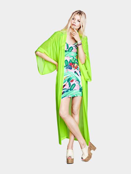 Yoins Green Short Sleeve Loose Maxi Kimono