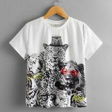 T-Shirt mit gemischtem Tier Muster