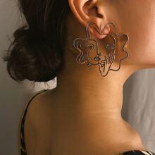 Aushohlen Figur Design Tropfen Ohrringe 1 Paar
