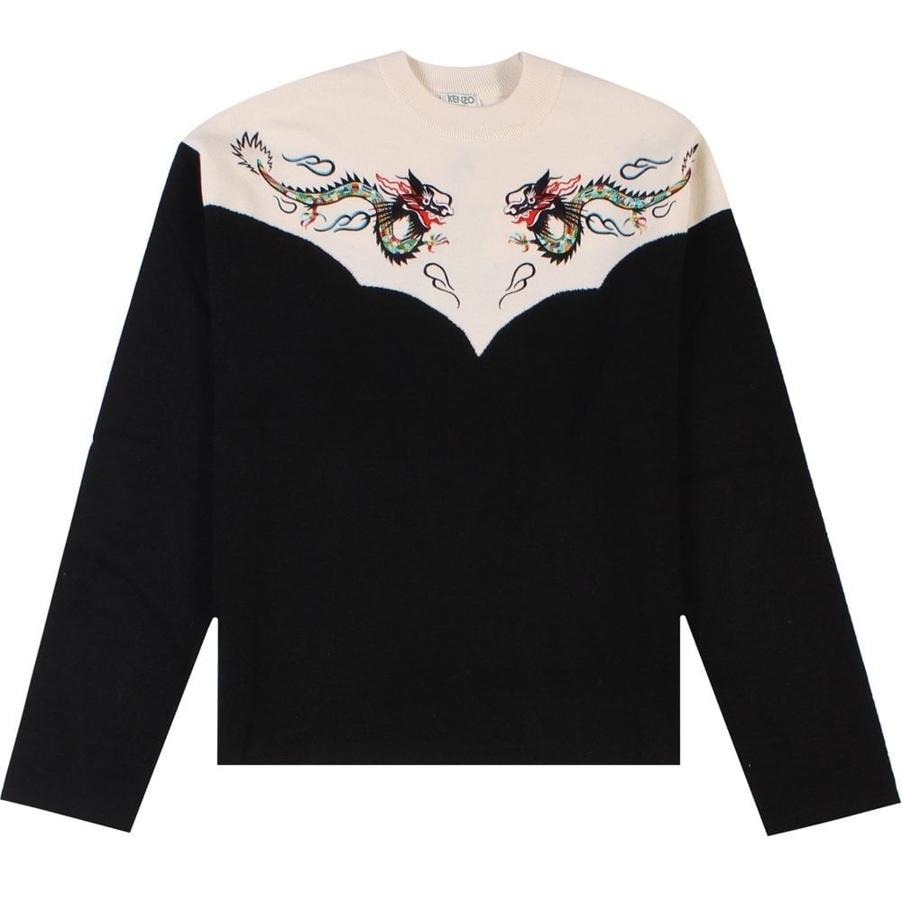 Kenzo Dragon Sweater Black Colour: CREAM, Size: LARGE