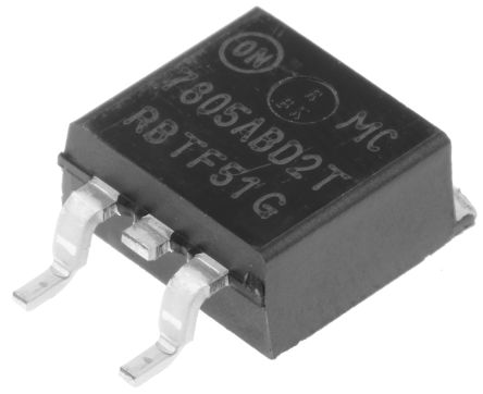 ON Semiconductor , 5 V Linear Voltage Regulator, 2.2A, 1-Channel, ±4% 3-Pin, D2PAK MC7805ABD2TG (5)