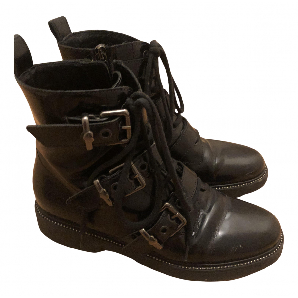 Twin Set N Black Leather Boots for Women 39 EU