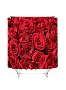 Red Roses Pattern Polyester Waterproof and Eco-friendly 3D Shower Curtain