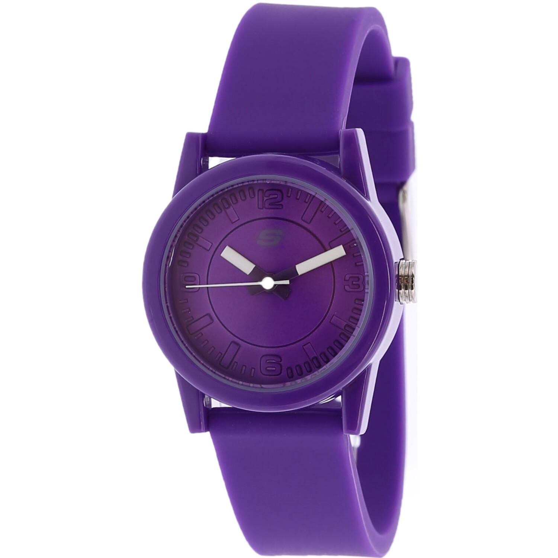 Skechers Watch SR6034 Rosencrans, Quartz Analog Display, Water Resistant, Purple Silicone Band, Buckle Closure, Purple