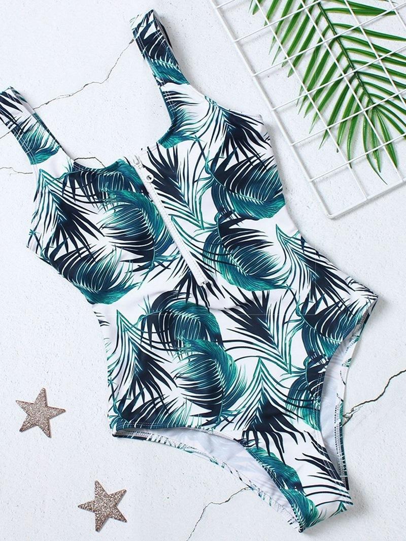 Ericdress One Piece Stripe Zipper Color Block Stretchy Swimwear