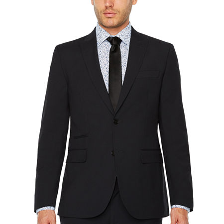 JF J.Ferrar Mens Checked Stretch Slim Fit Suit Jacket-Slim, 40 Long, Black