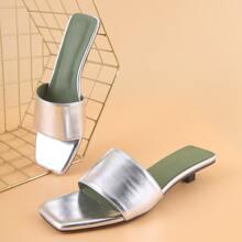 Metallic Minimalist Open Toe Heeled Mules