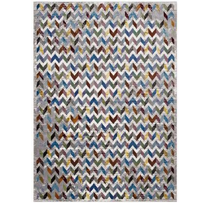 Gemma Collection R-1093A-58 Chevron Mosaic 5x8  Area Rug in Multicolored
