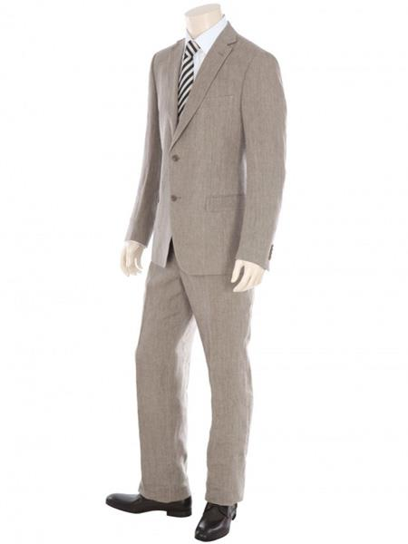 Dark Tan ~ Taupe 2 Button 100% Linen Fabric Suit Flat Front Pants