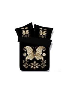 Golden Butterfly Printed Black 3D 4-Piece Bedding Sets/Duvet Covers