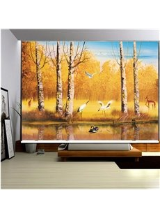 3D Write Cranes and Lovebirds with Trees and River Printed Roller Shades