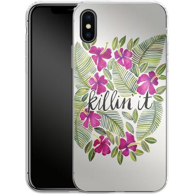 Apple iPhone X Silikon Handyhuelle - Killin It Pink von Cat Coquillette