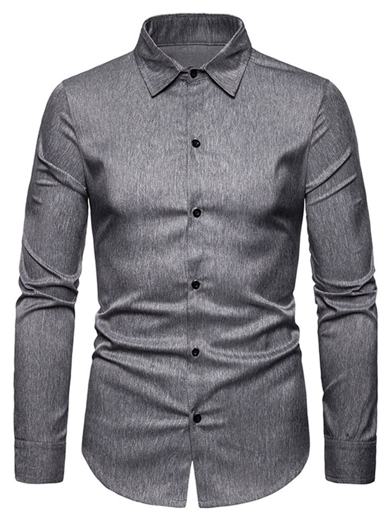 Ericdress Casual Lapel Plain Men's Single-Breasted Shirt